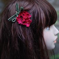 Handmade flower , vintage velvet flower hairpin