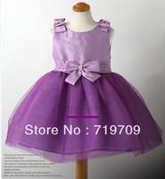 Retail! 2013 purple bow princess dress crystal princess dress purple girl's dress kid's dress GQ-120