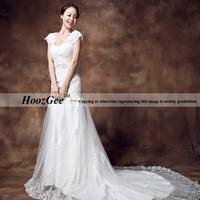Plus size sexy V neck  rhinestone/lace slim/sheath mermaid wedding dresses with sweep/brush train HoozGee 22133