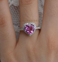 Synthetic Pink Sapphire Ruby Ring Heart Of Ocean 925 Pure Silver CZ Diamond Micro Setting Gift For Girlfriend