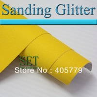 3D car sticker Yellow Sanding Dull polish pearly lustre  vinyl wrap Pearlised glitter Vinyl Air free bubbles 1.52 x 30m / Roll