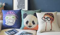 Free Shipping  45 *45cm Cute retro owl panda animal cat 3pcs Linen Cotton Cushion Covers Wholesale