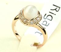 Min.order 2 pcs,Free Shipping Italina Rigant 18K Rose Gold Plated Fashion Cymophane Ring  Jewelry wholesale Birthday Gift