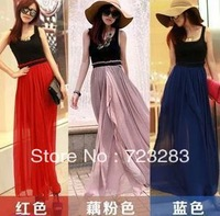 Free shipping 2013 summer women's fashion high waist chiffon full dress patchwork vest Bohemia dress long dresses beach dress