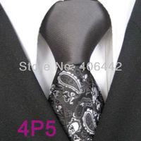 YIBEI Coachella ties SKINNY Tie New Design Gray Knot Contrast Black With Silver Gray Florals Microfiber Necktie SLIM Tie