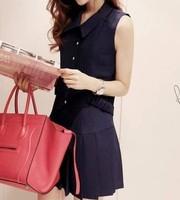 Women's 2013 summer turn-down collar dress pleated slim sleeveless pleated one-piece dress e155 summer female
