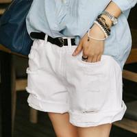 Women's 2013 summer hole roll-up hem pure white jeans denim shorts d06 summer female