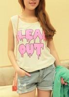 Women's 2013 summer neon doodle letter print loose vest sleeveless T-shirt f60 summer female