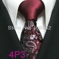 YIBEI Coachella ties SKINNY Tie New Design Burgundy Knot Contrast With Black Silver Florals Microfiber Necktie SLIM Tie