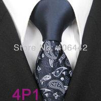 YIBEI Coachella ties Men's SKINNY Tie New Arrival Navy Knot Contrast Navy With Silver Florals Microfiber Necktie SLIM Tie