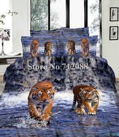 100% cotton tiger walk in water blue oil painting bedding set 3D bed linen quilt/duvet covers 4pcs full/queen comforter
