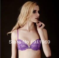 Free shipping 2013 sexy purple lace padded bra gather push up bra women's brands