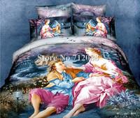 cotton bed linen lover oil painting bedding set 3D bed sheets home textile quilt/duvet covers 4pcs full/queen comforter