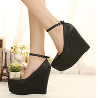 2013 fashion sexy fashion vintage black pointed toe platform wedges lacing ultra high heels single shoes female shoes