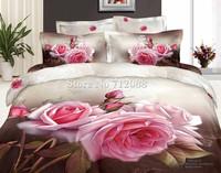 100% cotton oil painting fabulous pink rose flower floral bedding set 3D bed linen 4pcs full/queen quilt/duvet covers