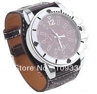 Fahion Quartz Men Wrist Watch Popular Boy Watches Brown Leather Band  free shipping