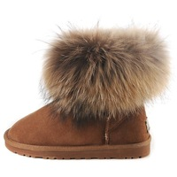 Genuine leather boots large fox fur snow boots cowhide cow muscle outsole snow boots female short