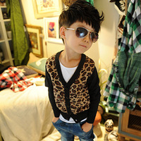 Children's clothing 2013 autumn male V-neck child sweater cardigan leopard print outerwear