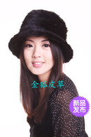 Fedoras female mink hair knitted hat fur hat black brown winter cap cap