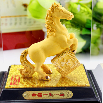 Alluvial gold velvet golden horse decoration crafts home accessories birthday gift horse