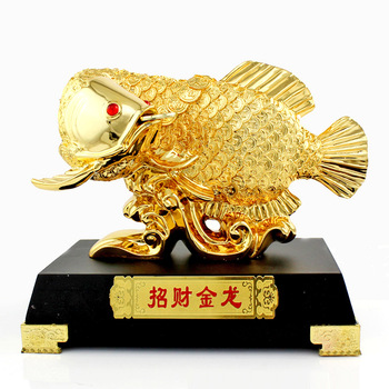 Lucky fish golden dragon gold plated desk decoration home accessories crafts lucky arowana decoration