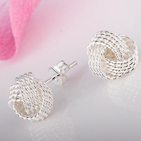 925 Earrings - MJE010 Tennis net stud earrings 925 silver plated earring for women 925 silver earrings sale items Free shipping
