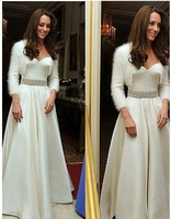2013 new arrival cheap  Princess Strapless Floor-length Satin Wedding Dress inspired by Kate Middleton