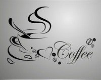 coffee cup, free shipping vinyl quote removable wall Stickers, DIY home decor wall art