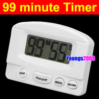 Digital LCD Kitchen Cooking Timer Sport Countdown Clock 99 Miutes (White Color)
