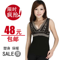 12.12 autumn and winter plus velvet thickening thermal underwear women's lace decoration V-neck body shaping thermal vest