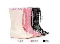 fashion Wellies/galoshes/Wellington rain boots/gumboots,PU,Long shoelaces,pink/black/champagne,free shipping