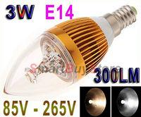 100pcs/lot,AC85V-265V 3W E14 LED Light Bulb Candle Lamp 300LM LED Bulb White/Warm White Spot light Free Shipping