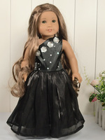 Doll Clothes Black One-shoulder Party Dress fit 18'' American Girl 1022a