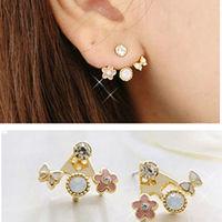 new arrival personality lovely cute bowknot flower rhinestone stud earrings hot