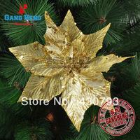 gold flannelet  flower pendants golden velvet christmas tree decoration pendant 15g 15cm