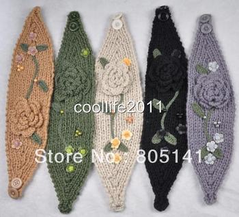 Free shipping ! 5 pcs/Lot 5 pcs ! Lot Wholesale HEADWEAR Knit Headwrap Headband Flower Crochet Ear warmer