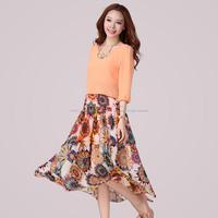 2014 new fashion summer women plus size chiffon half sleeve floral flare long dress