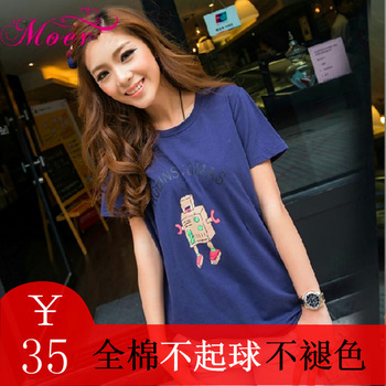 2013 summer women's medium-long small robot 100% cotton loose short-sleeve T-shirt female t