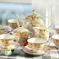 Bone china ceramic tea set 15 gift set coffee utensils 6 coffee spoon gift box tote