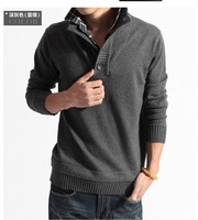 Men casual plaid shirt Daul collar thick sweater  Shirt 3 Color M-XXL