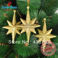 golden star pendants Christmas tree decoration accessories  (3pcs installed) 25g 12*8cm
