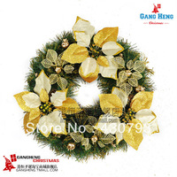 Christmas decoration supplies 40cm gold pineal decoration christmas wreath 800g