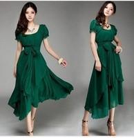 Free Shipping Plus Size 2013 Summer New Arrival Maxi Evening Long Dress Puff Sleeve Irregular Long Chiffon Dress Green/Black