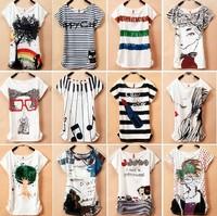 2013 summer plus size clothing top cotton stripe batwing shirt loose short-sleeve T-shirt