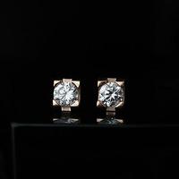 Zzj 14k titanium rose gold single hypoallergenic stud earring