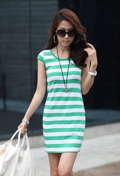 Women's summer 2013 one-piece dress stripe vest female basic skirt plus size