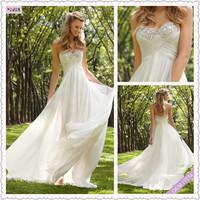 Petite Sweetheart Off-shoulder Floor-Length White Chiffon beadings wedding dress 2014