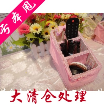 Big pink trapezoidal storage basket coffee table desktop storage compartment basket cosmetics remote control