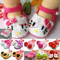 New hot Handmade Hand Knit Crochet Animal Hello Kitty Baby Shoes Booties free shipping