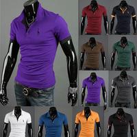 HOT!2013 Summer New Men's Polo T-Shirts Casual Slim Fit Stylish Short-Sleeve Shirt Cotton T-shirt Size:M-XXL Free Shipping